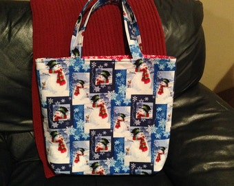 Christmas tote, market bag, snowflakes, grocery tote, library bag, hostess gift, holiday, winter, snowman
