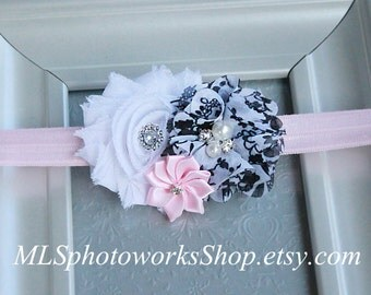 White, Powder Pink & Black Baby Girl Headband - Floral Print Spring Hair Bow for Babies, Toddlers and Girls