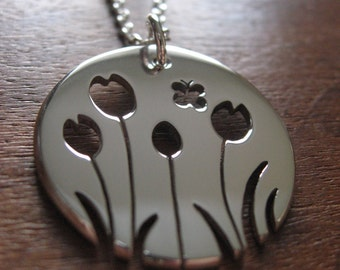 Silver Tulip with Butterfly Pendant Necklace