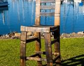 Bourbon Barrel Bar Stool With Backrest (Oak, black, brown, dinning, tall, whiskey staves)