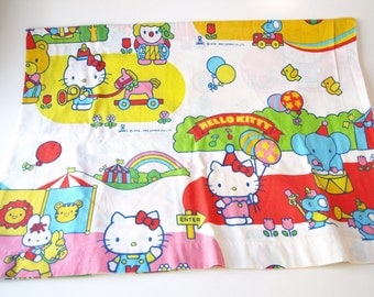 Vintage 1983 Hello Kitty Sanrio colorful & happy flat twin bed sheet fabric