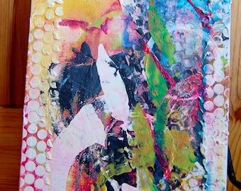 Mixed Media Abstract Painting Mini Canvas Board