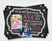 Frozen Chalkboard Photo Birthday Invitation- 5x7, 4x6 - 4th 5th 6th 7th 8th - Elsa Anna Hans Olaf Sven - Digital Printable File - Cardstock