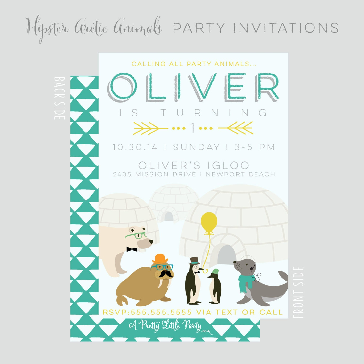 Hipster Arctic Party Animals Invitation - Hipster Polar Animals Party  - Printable Party Supplies