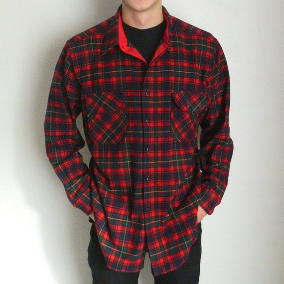 Men 39 S Vintage Pendleton Plaid Wool Shirt Size Xl Red Green