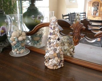 Seashell tree - sea shell topiary - seashell Christmas tree - centerpiece - beach - coastal decor