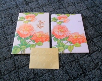 Vintage Blank Note Cards 12 Fold over Postcards Pink Rose Stationary Current