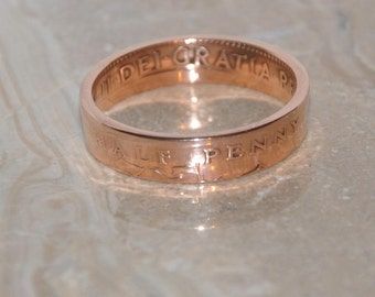 Bronze Coin Ring. British Half Penny . Size 11 1/8