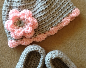 Crochet Hat and Slippers Set