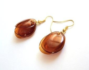 Brown earrings repurposed jewelry everyday earrings made of plastic bottle repurposed jewelry recycled earrings eco friendly jewelry