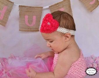 Pink Heart Headband - Pink Headband - Heart Headband - Valentines Day Headband - Toddler Child Teenager Adult Headband - Valentines Day