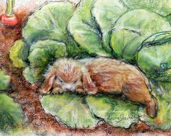 """Original Pastel painting, """"Bunny Asleep In Cabbage Patch"""" Rabbit, animal art, Nursery animals, Laurie Shanholtzer"""