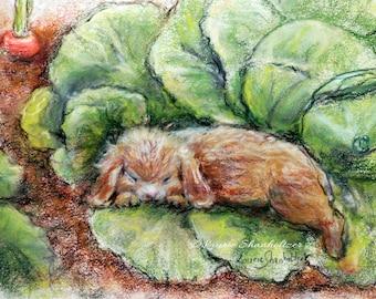 "Nursery animals - ORIGINAL pastel painting - Rabbit, wildlife sleepy animal art, ""Bunny Asleep In Cabbage Patch"" Laurie Shanholtzer"