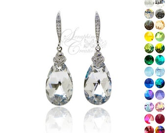 Bridal Earrings Wedding Jewelry Swarovski Crystal Comet Argent Light Cubic Zirconia Sparkly Earrings Bridesmaid Gifts Wedding Party K012