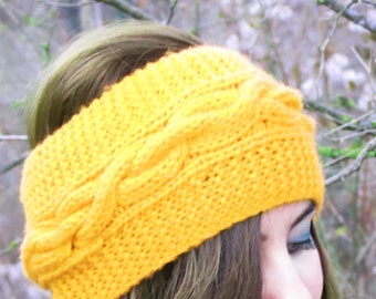 Best Selling Knitted Headband, Exclusive, Fashion Accessory, Turband, Cozy, Pinterest Favorite, Cable Knit Ear Warmer in Yellow, Cable Knit