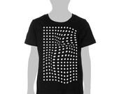 KIDS - Black tshirt with white dots, geometric, abstract, monochrome, black and white polka dots