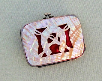 Antique mother of pearl coin purse, c.1900 abalone shell change purse with cut out horseshoe