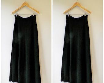 1970s skirt . long black skirt . maxi skirt . black evening skirt . small