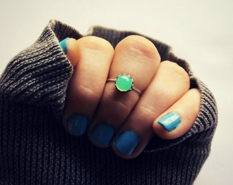 sterling silver knuckle ring with mint opal, midi ring, silver knuckle ring, midi ring, minimalist ring, stacking ring, green ring