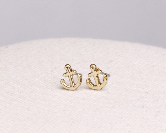 Make a wish gold plated tiny anchor earrings