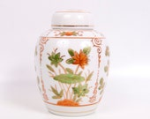 Vintage Orange Ginger Jar Vase With Lid Lotus Flowers Asian Design Andrea by Sadek Japan Oriental Urn Temple Jar