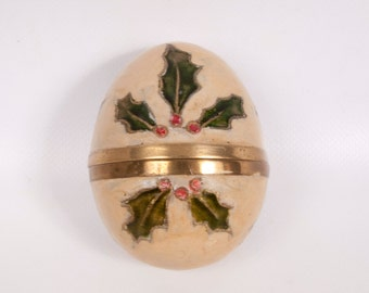 Vintage Solid Brass Egg Hand Painted Enamel Christmas Holly Ivy Trinket Holder Cloisonne Egg