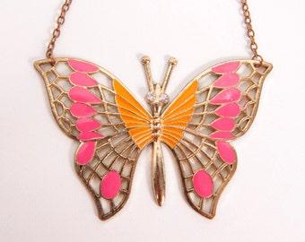 Vintage Large Butterfly Necklace Orange Pink Enamel Gold Tone Rhinestones Costume Jewelry