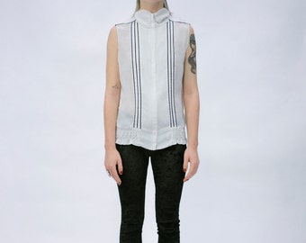 White and Black Sleeveless Turtleneck Shirt Blouse and Smocks