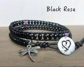 Black Rose Bracelet/Handmade Layer LeatherWrap Onyx and Birthstone Jewelry/ Japanese Energy Powerstones/ Birthday Anniversary Memory Gift