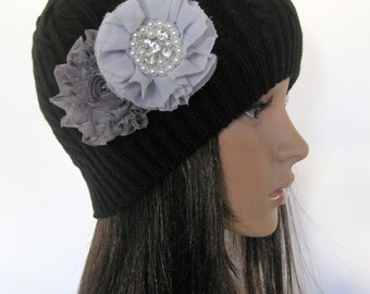 Black Cable Knit Beanie with Shades of Gray Flowers and Pearl and Rhinestone Accents Winter Hat and Accessories
