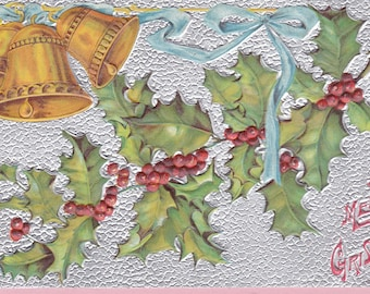 """Ca. 1909 """"Bells and Holly"""" Christmas Greetings Postcard - 1856"""