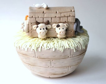 Edible Noah's Ark Cake Topper. Fondant Noahs Ark Cake Topper. Ark Cake Topper. Animal Cake Topper. Fondant Animals.
