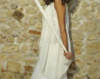 Freesize elegant hemp and silk multifunctional dress you can wear it in three ways