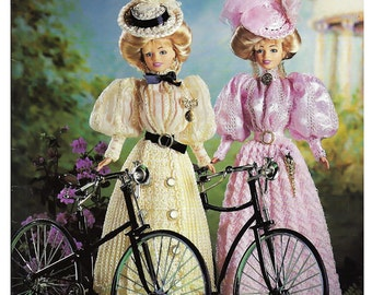 Crochet Collector Costume Volume 68 / 1895 Sunday cycling Costumes Fashion Doll  Crochet Pattern P-079