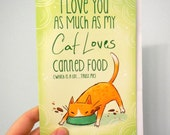 funny cat card, cat antics card anniversary card, valentines day card