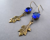 Art Deco Earrings Midnight Blue Glass Jewels Vintage Rhinestone Brass Leaf Edwardian Jewelry Long Dangle Bridal Earrings Delicate For Her
