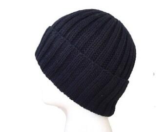 Black Wool Hat, Hand Knit, Teens Men Women, Watch Cap Beanie