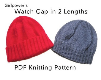 Watch Cap in 2 Lengths PDF Knitting Pattern, Hat Beanie, Light Worsted, Kids Teens Men Women
