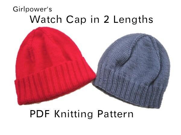 Watch Cap Knit Pattern : Watch Cap in 2 Lengths PDF Knitting Pattern Hat Beanie Light