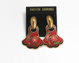 Vintage Floral Cloisonne Earrings