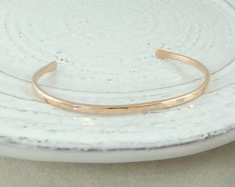 14k Rose Gold Hammered Bracelet