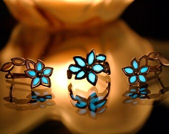 Sterling Silver Flower Ring and Earrings GLOW in the DARK