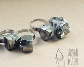 Pyrite ring - Adjustable gemstone ring | Mineral jewelry | Crystal ring
