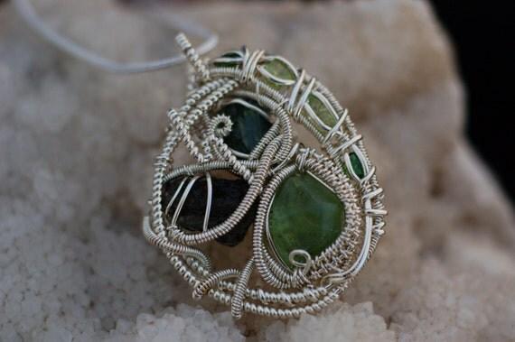 Green Gemstone Pendant in Sterling Silver / Peridot, Moldavite, and Green Tourmaline Wire Wrapped Pendant / Tektite Jewelry / Art Jewelry