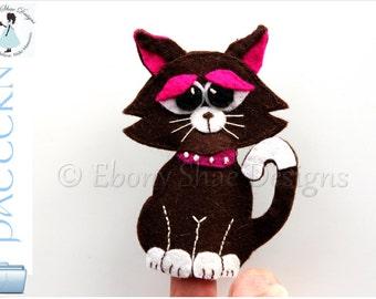 Felt Finger Puppet Pattern: Cat PDF.  INSTANT DOWNLOAD.