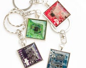 Men's keychain - recycled circuit board keychain - geeky gift - gifts for him - square, resin