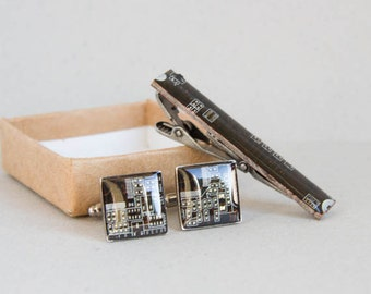 Cuff Links and Tie Clip set - Computer Circuit Board Accessories -  antique silver, resin, square