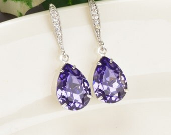 Purple Earrings Bridesmaid Swarovski Crystal Teardrop Bridal Earrings Tanzanite Earrings Silver Bridesmaid Jewelry Crystal Drop Earrings