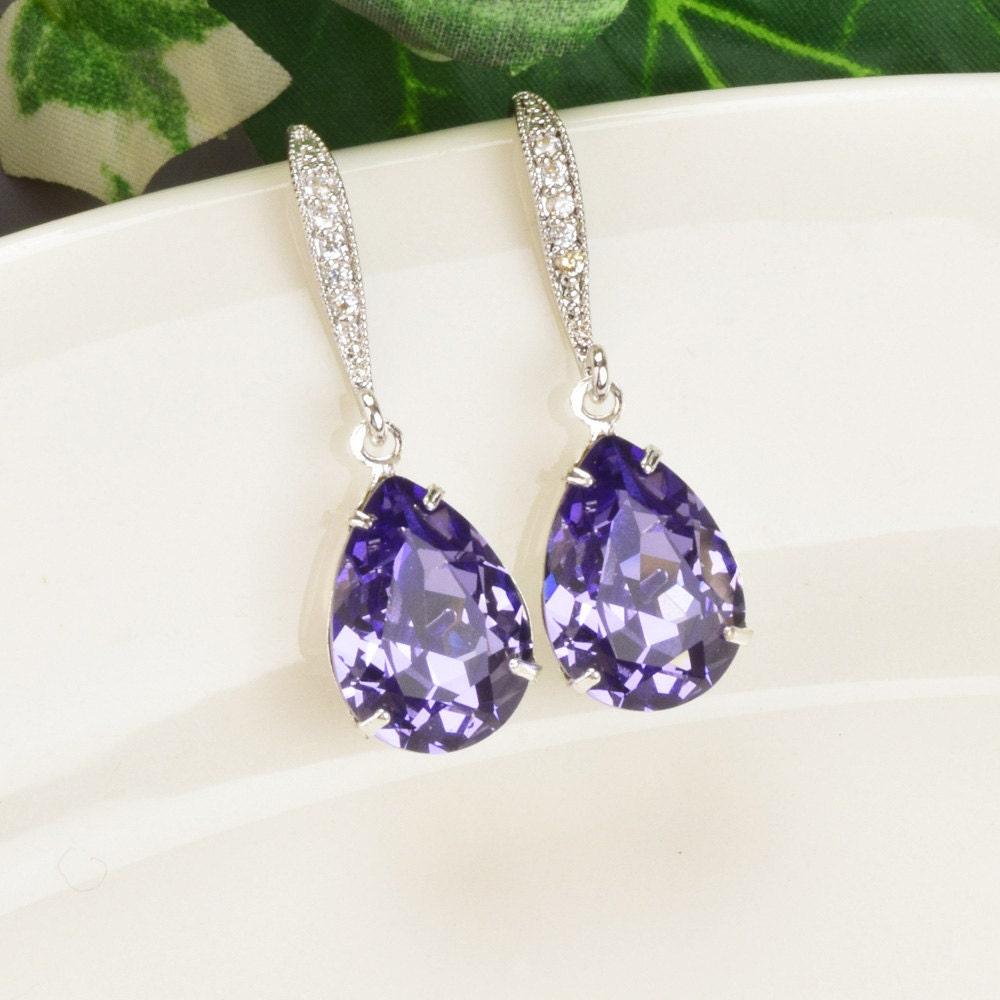 Teardrop Tanzanite: Purple Earrings Bridesmaid Swarovski Crystal Teardrop Bridal