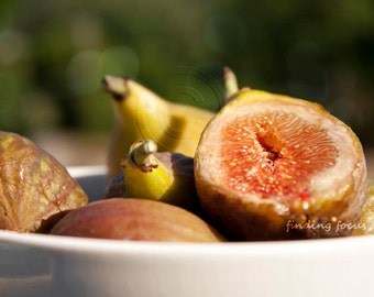 Fig Photography Still Life Kitchen Art Food Photo, Fruit Bowl, Rosy Pink Green Figs Farmers Market Farmhouse Decor Rustic Table Foodie Print